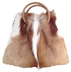 FRANCESCO SANTORO Antelope Fur Ostrich Satchel in Camel, Choc. Brown and Ivory