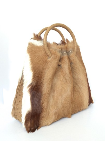 FRANCESCO SANTORO Antelope Fur Ostrich Handbag Chic Satchel in Camel, Choc. Brown and Ivory