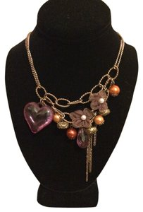 Wet Seal Chain link Cascading Hearts & Pearls necklace