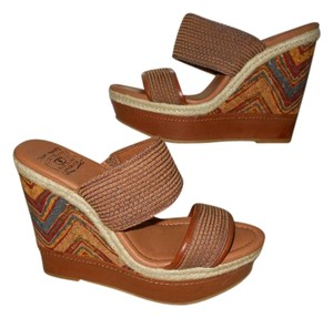 Lucky Brand Wedge Platform Candy Cork brown multi color Sandals