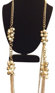 Arden B Long Chain & Pearl Cluster Necklace