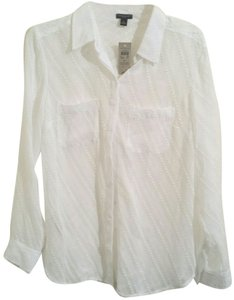 Ann Taylor Sheer Shirt Tail Hem Top white