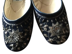 Emma Hope Exquisite Unique Beaded Velvet Embellished Navy Flats