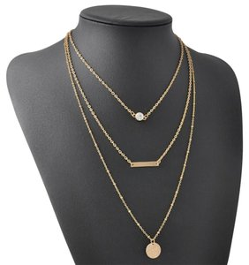 Other 3Layer Chain Crystal Choker Chunky Statement Bib Pendant Necklace
