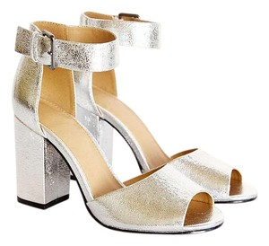 Urban Outfitters Peep Toe Modern Edgy Ankle Strap Silver Sandals