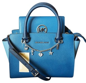 Michael Kors Mk Signature Gold Leather Satchel in Steel blue / sky blue / navy