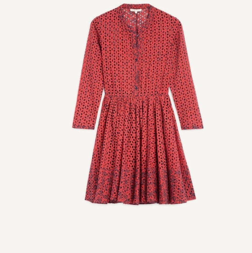 Maje Printed Eyelet Rayane Terracotta Night Out Dress ZZqPr8nT