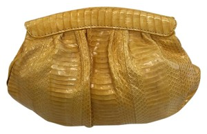 Besson Go Out Yellow snake skin Clutch