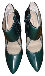 CoSTUME NATIONAL Zipper Leather Cut-out Pointed Toe Dark Green Boots