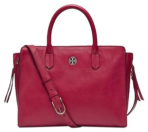 Tory Burch Leather Brody Tote in red berry