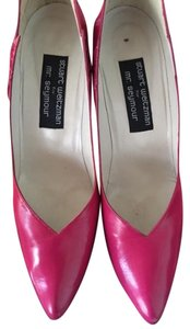 Stuart Weitzman Leather Pink Aligator Designer Hot Pink Pumps