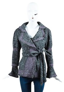 Marc Jacobs Marc Chunky Knit Ribbon Sequin Trim Long Sleeve Gray Jacket