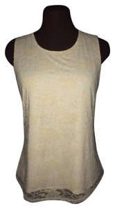 Geoffrey Beene New Shell Lace Overlay Top Ivory