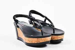 Prada Sport Patent Leather Cork Wedge Platform Black Sandals