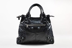 Balenciaga Leather Brogues Brief Satchel in Black