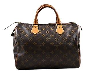 Louis Vuitton Tan Coated Canvas Leather Trim Monogram Speedy 30 Satchel in Brown