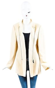 Akris Wool Blend Zip Up Cream Jacket