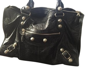 Balenciaga Leather Distressed Leather Studded Tote in Black
