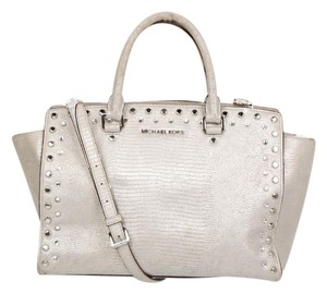 Michael Kors Studded Satchel in Silver