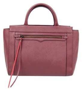 Rebecca Minkoff Saffiano Leather Satchel in Maroon