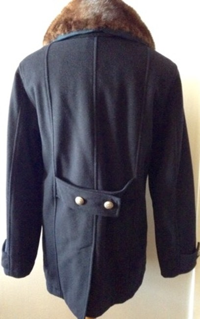 Authier-Vampire Ski Vintage Wool Detachable Mink Collar Silver Button Swiss Made Peacoat Coat