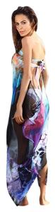SUMMER SALE New Gorgeous Watercolor Sarong Maxi Coverup One Size