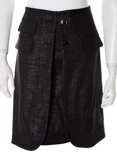 Peter Som Metallic Tweed Made In Italy Edgy Wool Skirt Gray