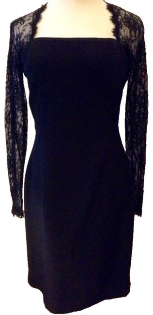 Chetta B. by Sherrie Bloom and Peter Noviello Lace Sleeve Square Neck Fitted Party Formal Dress
