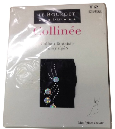 le bourget Crystal Embellished Sheer Black Tights