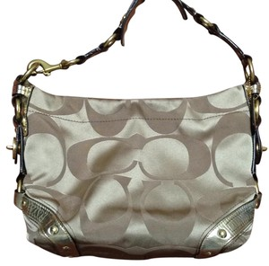 Coach Metallic Hardware Leather Hobo Bag