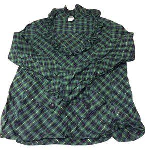 J.Crew Sparkle Tartan Madeline Holiday Top