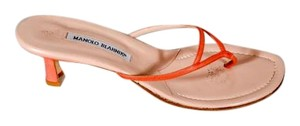 Manolo Blahnik Leather Thin Straps Thong Slide Kitten Heel Rose Sandals