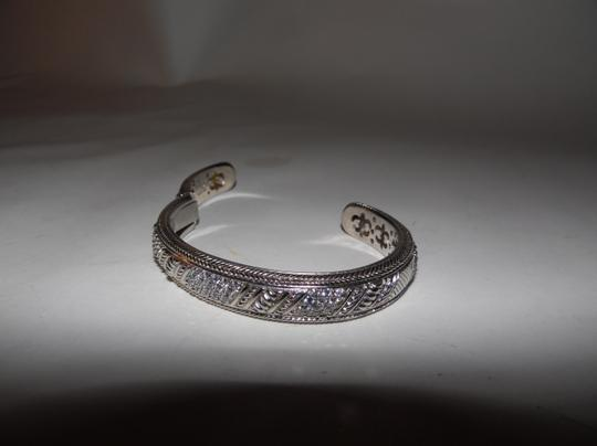 Judith Ripka Judith Ripka 925 Sterling Silver Diamonique Pave Cuff Hinged Bracelet Size 7 1/2 to 8 inches