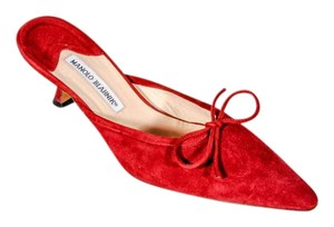 Manolo Blahnik Mule Sling Back Slide Red suede Pumps