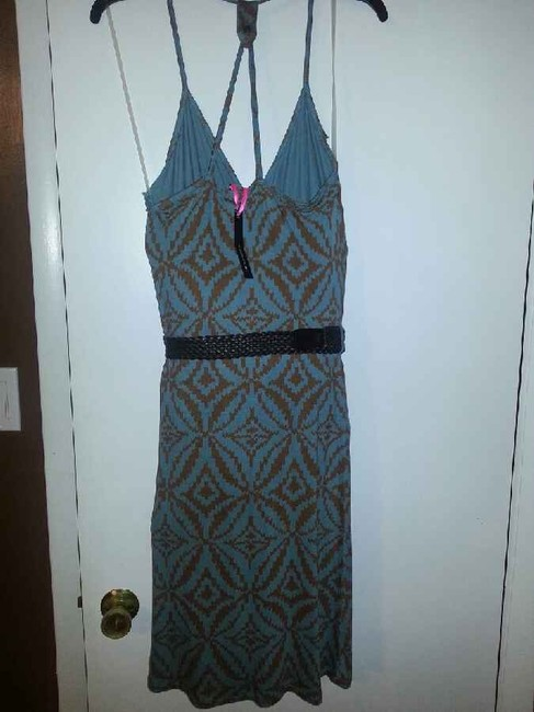 I 'Heart' Ronson short dress blue and brown print on Tradesy
