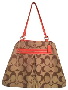 Coach Carryall Multiway Oversized Orange Vintage Satchel in Signature C print tan/brown