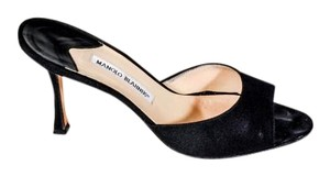 Manolo Blahnik Open Toe Slide Little Wear Sexy Matte Black Pumps
