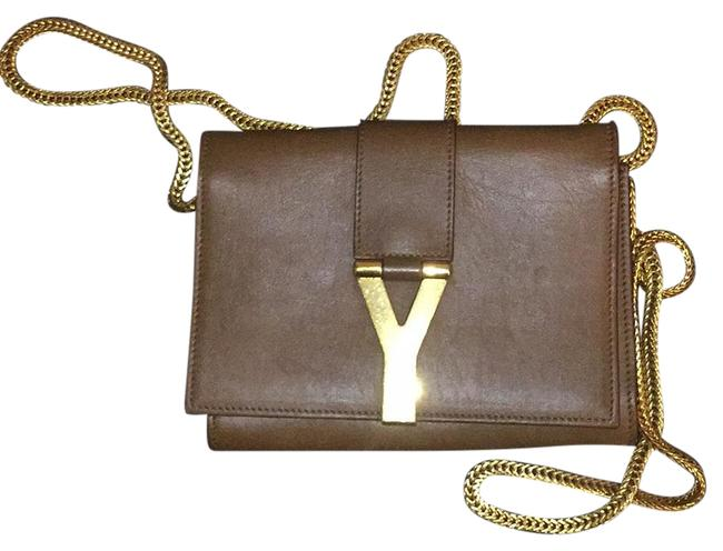 Item - Ysl Leather Y Cross Body with Gold Hardware Brown Messenger Bag