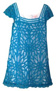 Betsey Johnson short dress Turquoise & White Vintage Lace Knit Layers on Tradesy