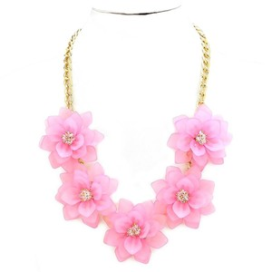Pink Flower Crystal Accent Collar Statement Necklace