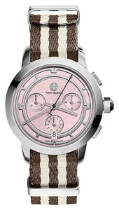 Tory Burch Tory Burch Women's Chronograph Pink Dial Nylon Strap Watch TRB1019