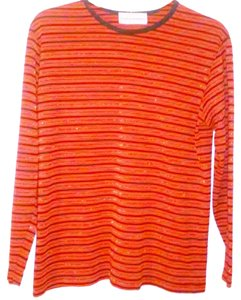 Cathy Daniels Striped Acrylic Top Red Black Gold