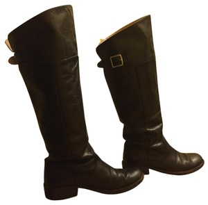 Coach Riding Stacked Heel Black Boots
