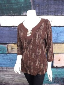 Saint Tropez West Gold Snakeskin Print Blouse Shirt Tunic