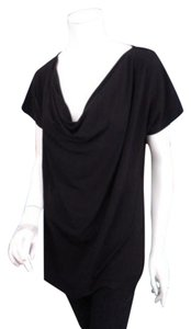 Dana Buchman Cowl Neck Short Sleeve Shirt Top Black