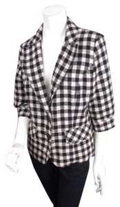 Burlapp Anthropologie Fine Service Black White Gingham Check Blazer Jacket