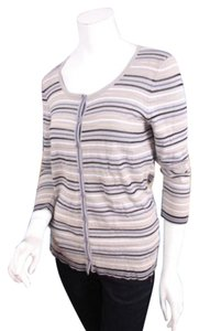 NIC+ZOE Striped Cotton Blend Button Front Cardigan Sweater