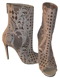 Balmain lace booties White and nude Boots