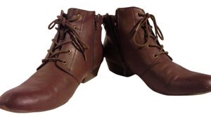 Yuu Vintage Ankle Low Heel Lace-up maroon Boots