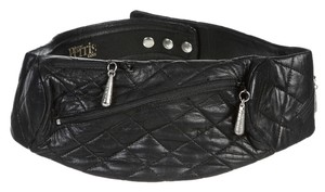 Bernad Perris Black Quilted Leather Fanny Pack Belt